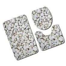 3pcs/Set Carpet Bathroom 3D Stone Printing Non-Slip Bath Mat Doormats Decor Toilet Seat Cover Rug