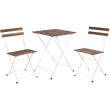 idooka Metal & Wood Bistro Garden Furniture Set - Two Chairs One Table - Acacia/Robina Wood with White Metal Frame - For Patios, Decks, Balconies