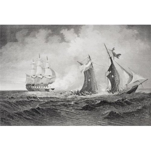 Destruction of The Privateer Petrel by The St Lawrence 1861. Artist Paul Manzoni Poster Print, Large - 34 x 24