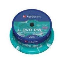Verbatim 43639 4.7GB DVD-RW - Spindle 25 Pack, Proprietary SERL Technology