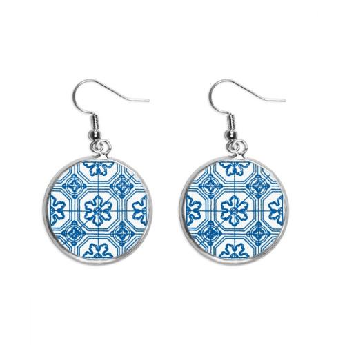 Talavera Blue Pattern Flower Ilustration Ear Dangle Silver Drop Earring Jewelry Woman