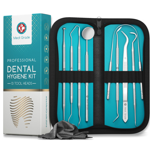 Dental Tools Plaque Removal [13 Pcs] Stainless Steel Dental Care Kit