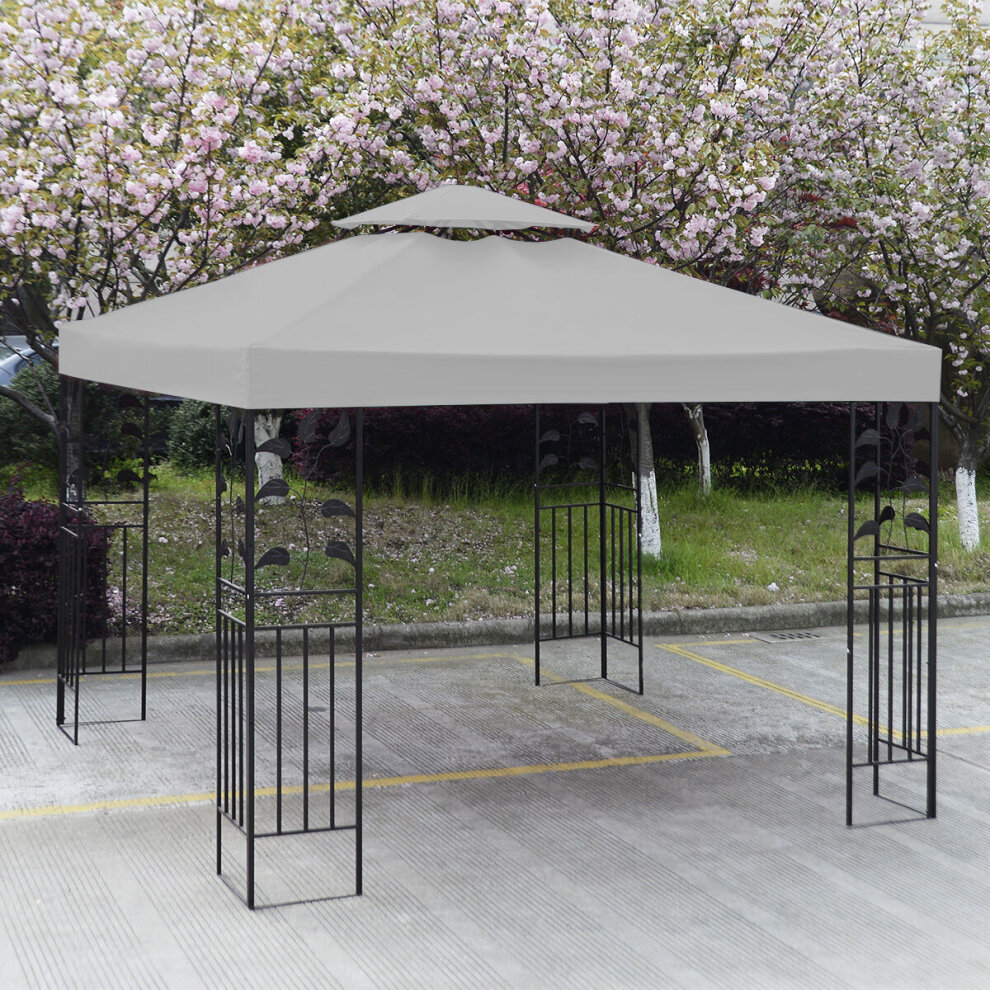 Garden Gazebo Top Cover Replacement  Fabric Tent Canopy Waterproof White 3x3m