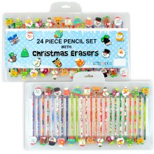 Kids 24 Piece Pencil Set With Christmas Eraser Toppers Novelty Stationary Art