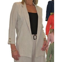 Soft Lightweight Linen Jacket Open Front - Ladies Formal Smart Tailored Occasion Summer Evening Wedding 3/4 Sleeve 10-22