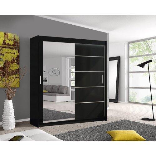 (Black, 180cm) Lyon Modern Bedroom Sliding Door Wardrobe