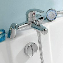 Modern Bathroom Bath Shower Filler Mixer Tap Single Lever Chrome Solid Brass with Shower Handset and Hose Attachment