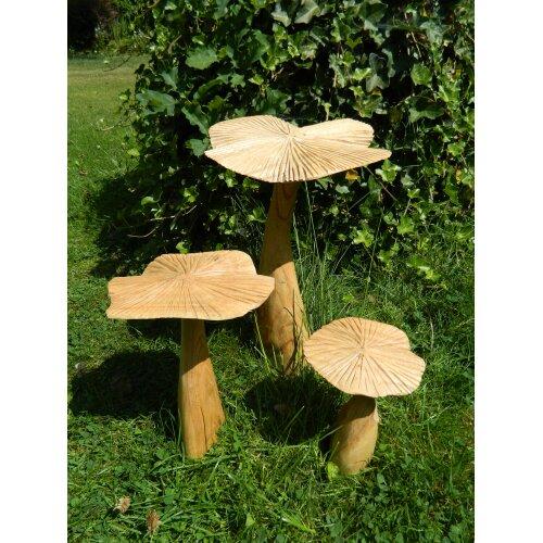 Wooden Mushroom Toadstool Carving - Set of 3 Flat Mushrooms 35/25/20cm