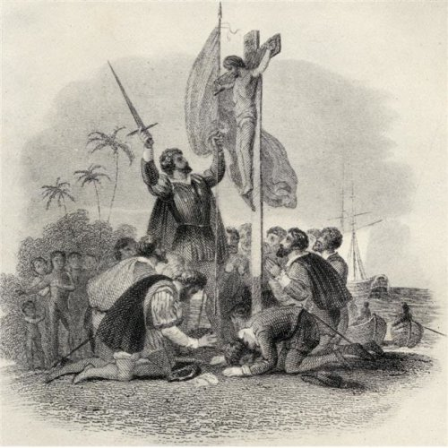 Columbus Landing In The New World. Christopher Columbus 1451-1506 Spanish Poster Print, Large - 24 x 24
