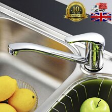 Chrome Kitchen Sink Mixer Tap Mono Bloc Single Lever Swivel Long