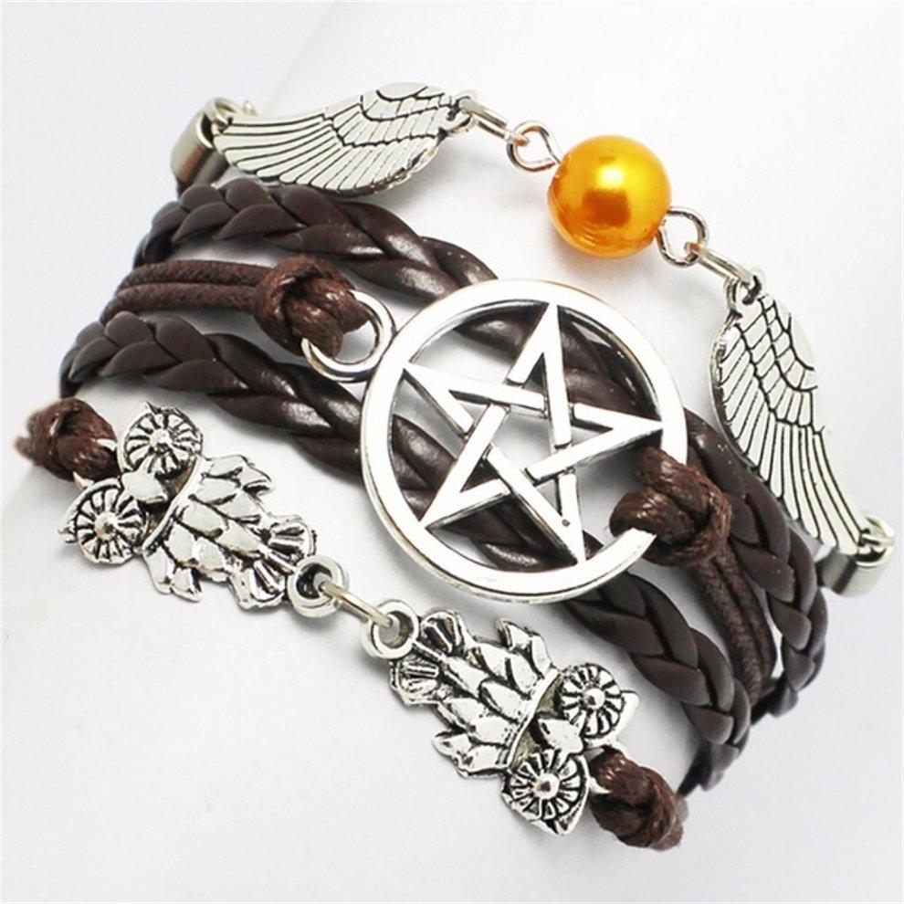 Pentagram Owl Angel Leather Bracelet