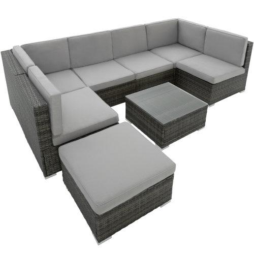 8pc Tectake Grey Venice Lounge Set | Rattan Garden Furniture