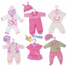 """The Magic Toy Shop New Born Baby Doll Set of 6 Outfits 12-16"""" Baby Dolls Clothes Romper Pink Dress"""