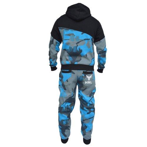 (11-12 Years, Blue) Kids Boys Tracksuit HNL Camouflage Hoodie & Botom Jog Suit New Age 7-13 Years