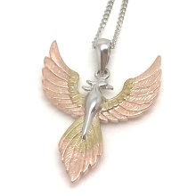Phoenix pendant, solid Sterling Silver with rose gold overlay, chain.