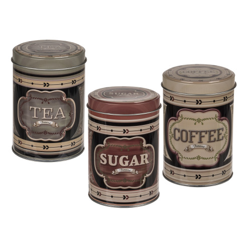 Set Of 3 Round Metal Vintage Tea Coffee Sugar Kitchen Storage Canister Pot Tins
