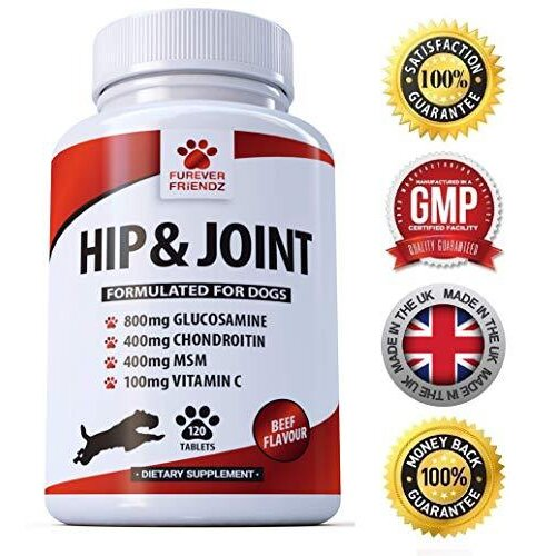 Glucosamine 800mg Advanced Dog Hip and Joint Support Supplements - With Chondroitin MSM & Vitamin C - Canine 120 Chewable Beef Flavoured Tablets  F
