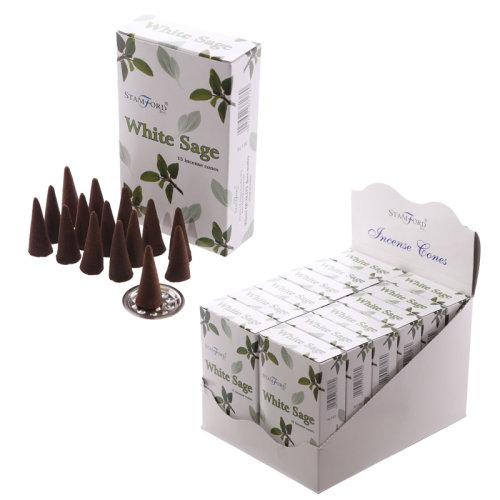 White Sage Stamford Incense Cones - Set of 12