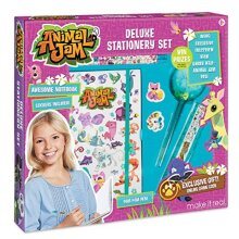 Make It Real Animal Jam Stationery Set Animal Jam Notebook and Sticker Set for Kids Includes Animal Jam Notebook, Stickers, Pom Pom Pens, Ruler, and E