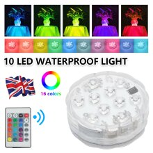 2x Remote Control RGB 16 Colour Changing Underwater Ponds LED Light