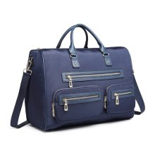 Miss Lulu Women's Large Multi-Pocket Travel Handbag - Blue