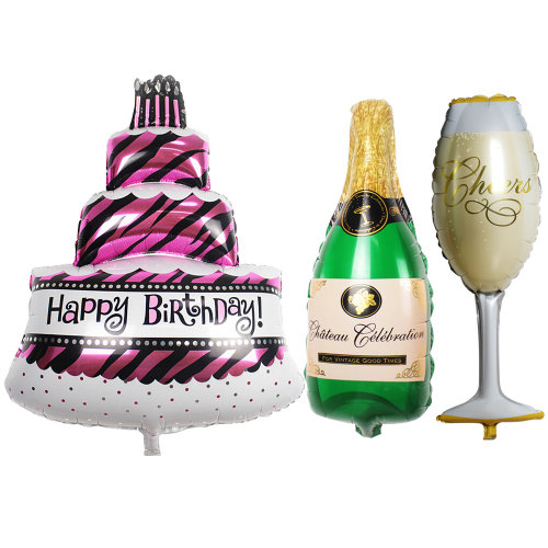 Enjoyable Trixes Set Of 3 Birthday Party Balloons As Cake Champagne And Funny Birthday Cards Online Hetedamsfinfo
