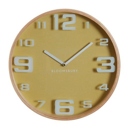 Vitus Yellow Wood Large Numbers Wall Clock