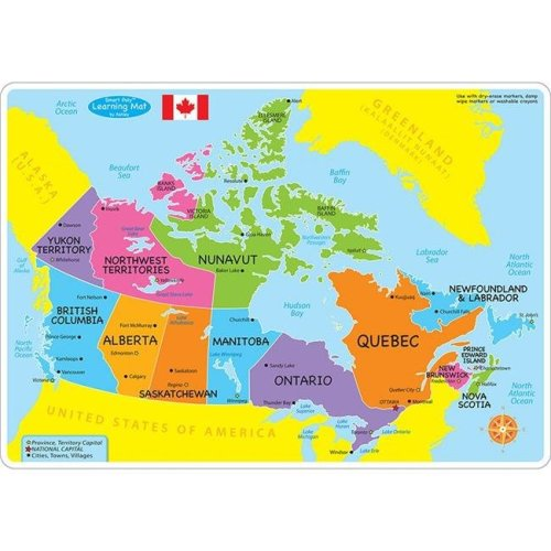 Ashley Productions ASH95604 12 x 17 in. Double-Sided Canadian Map Mat, Pack of 10