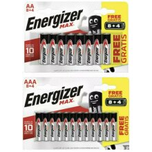 Energizer MAX AAA & AA 10 Year Shelf Life Batteries- 2x Pack OF 12 Batteries