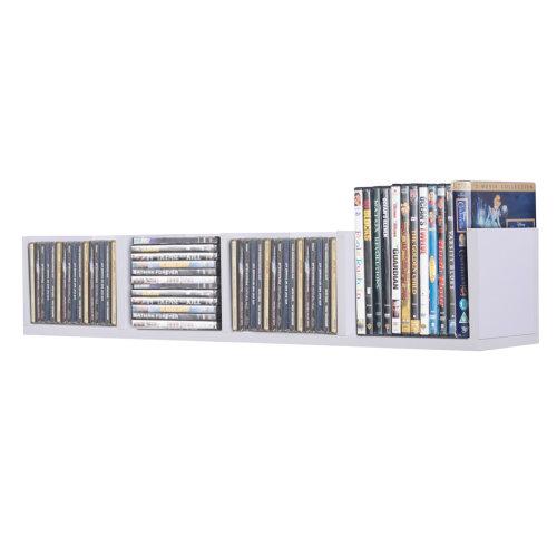HOMCOM Wall Mount Storage Multi-Media CD DVD Display Shelf Center Rack