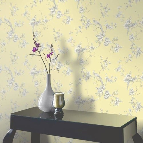 NEW ARTHOUSE OPERA CHINOISE FLORAL PATTERN SONGBIRD FLOWER MOTIF WALLPAPER ROLL[YELLOW 422804]