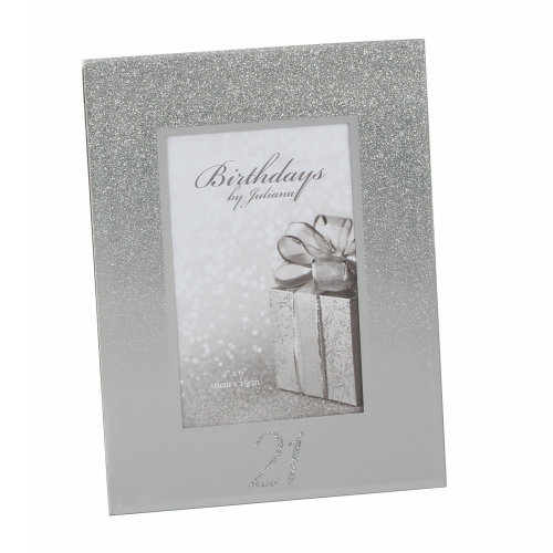 Silver Glitter & Mirror 4'x6' Photo Frame with Number - 21st Birthday