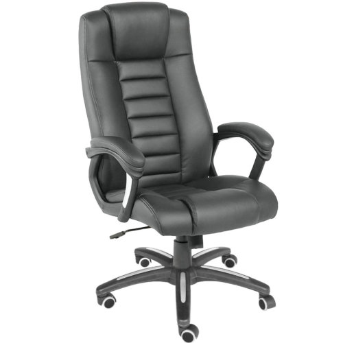 Luxury office chair made of black artificial leather - black