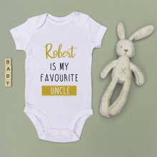 Personalised Baby Grow - Favourite Auntie/Uncle - GOLD