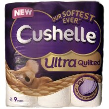 Cushelle Ultra Quilted Toilet Rolls - White - 9 Rolls