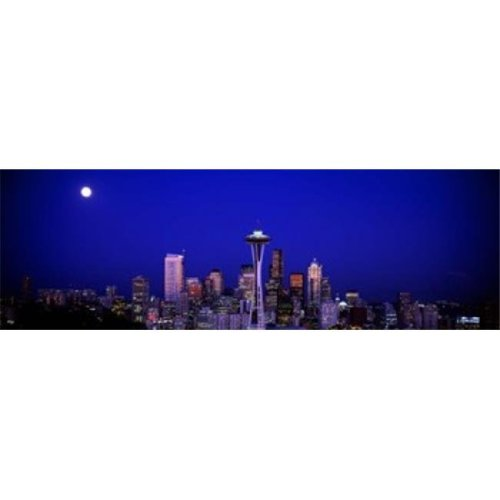 Moonrise  Seattle  Washington State  USA Poster Print by  - 36 x 12