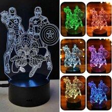 3D Marvel The Avengers LED Night Light Spiderman Ironman Lamp Kids Birthday Gift