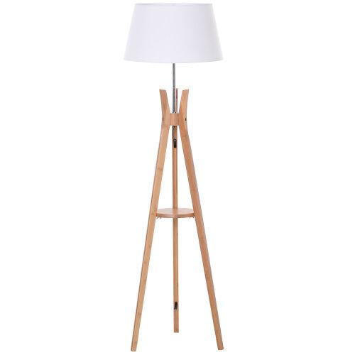 Homcom Tripod Floor Lamp Light E27 Base, Oak Floor Lamp With Shelves Uk