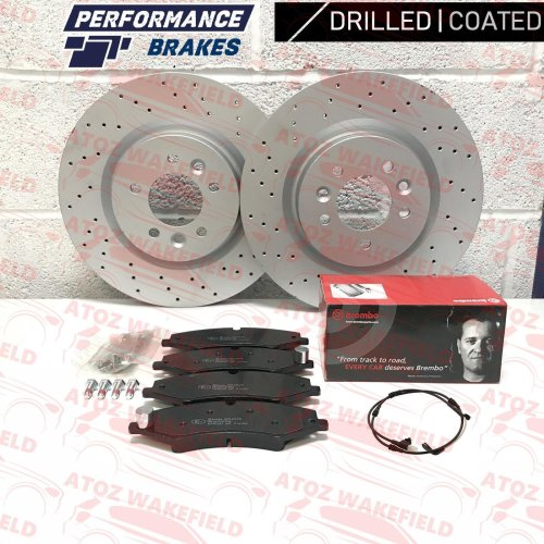 FOR LAND ROVER DISCOVERY 4 FRONT DRILLED COATED BRAKE DISCS BREMBO PADS WIRE 360