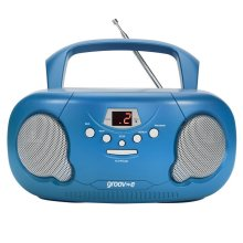 Groove Original Boombox Portable CD Player?AM/FM Radio?3.5mm Aux-In?PS733BE?Blue