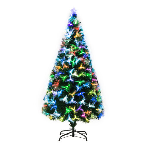 HOMCOM 5FT Multicoloured Artificial Christmas Tree w/ Pre-Lit Modes Metal Stand
