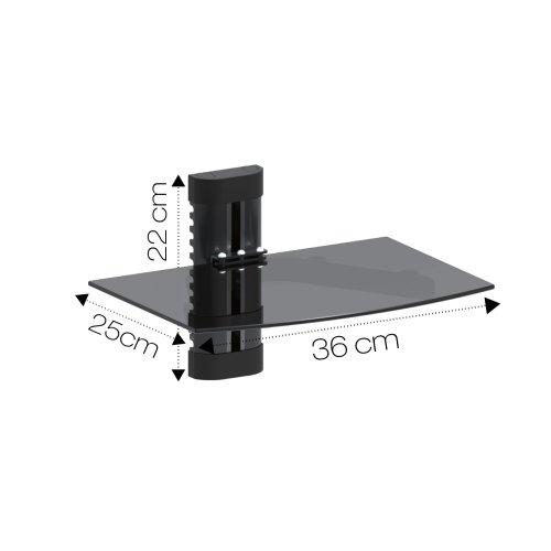 Dihl Black Floating Glass Shelf | TV Accessory Wall Mount