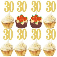 Dusenly 20pcs Number 30 Cake Topper Golden Glitter Cupcake Picks Cake Decoration 30th Birthday Anniversary Wedding Party Supplies