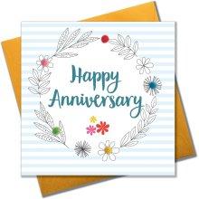 Pom Pom'Anniversary' Greeting Card