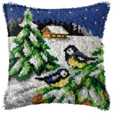 """Latch Hook Complete Cushion Cover Kit""""Winter Birds""""43x43cm"""