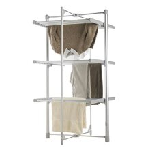 3 TIER ELECTRIC CLOTHES AIRER HEATED 24 RAILS FOLDING DELUXE PORTABLE
