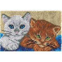 Two Kittens Rug Latch Hooking Kit (64x48cm blank canvas)