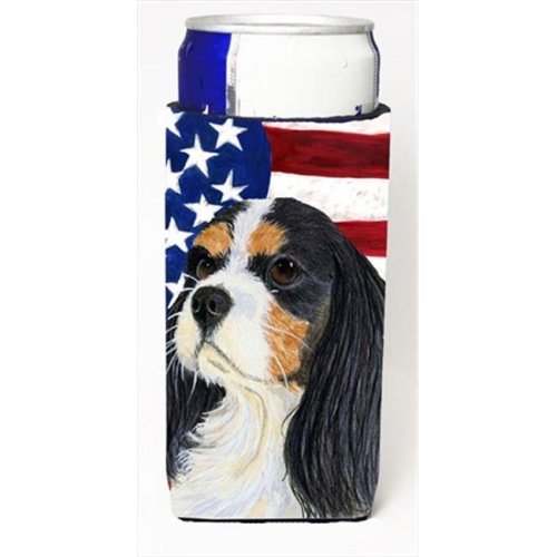 Usa American Flag With Cavalier Spaniel Michelob Ultra bottle sleeves For Slim Cans - 12 Oz.
