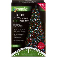 Premier TreeBright 1000 Multi Colour LED Christmas Lights With Timer - 25m