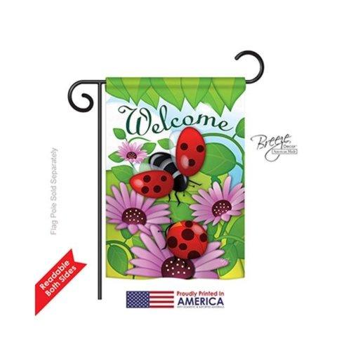 Breeze Decor 54071 Welcome Ladybug 2-Sided Impression Garden Flag - 13 x 18.5 in.